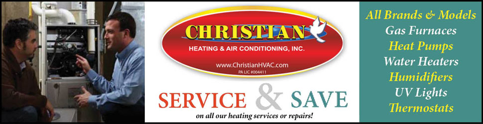 Save on all Christian HVAC's services or repairs.