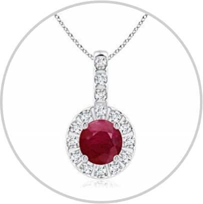 Enter to win a red ruby and diamond halo pendant in white gold