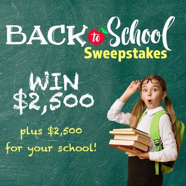 Win $2,500 in The Back To School Sweepstakes!