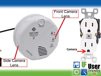 Picture of a smoke alarm and outlet showing where the hidden cameras are located.