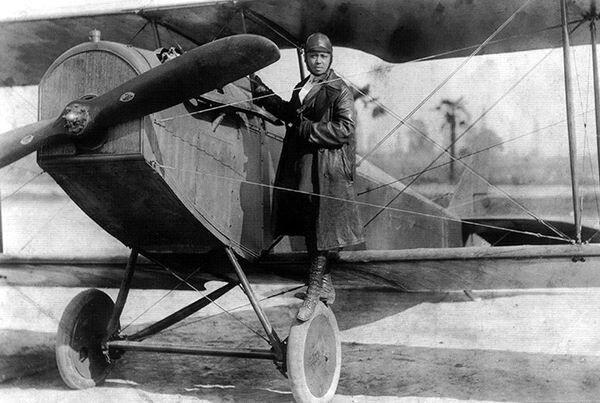 Bessie Coleman and Her Plane