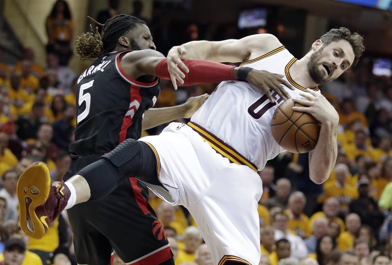 pretty nice fed38 78131 ... Major hops  LeBron scores 35, grabs beer as Cavs top Raptors. Toronto  Raptors  DeMarre Carroll (5) puts pressure on Cleveland Cavaliers  Kevin  Love (0) ...