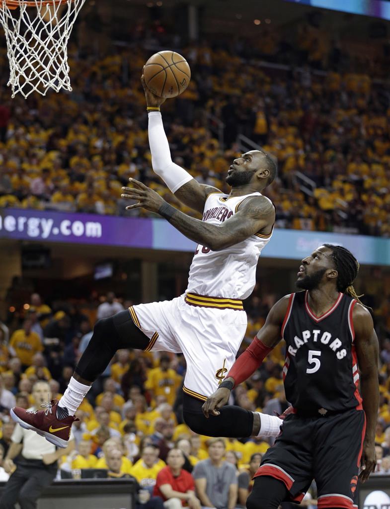 great fit 9daa5 ac8ed ... Major hops  LeBron scores 35, grabs beer as Cavs top Raptors. Cleveland  Cavaliers  LeBron James (23) drives past Toronto Raptors  DeMarre Carroll  (5) in ...