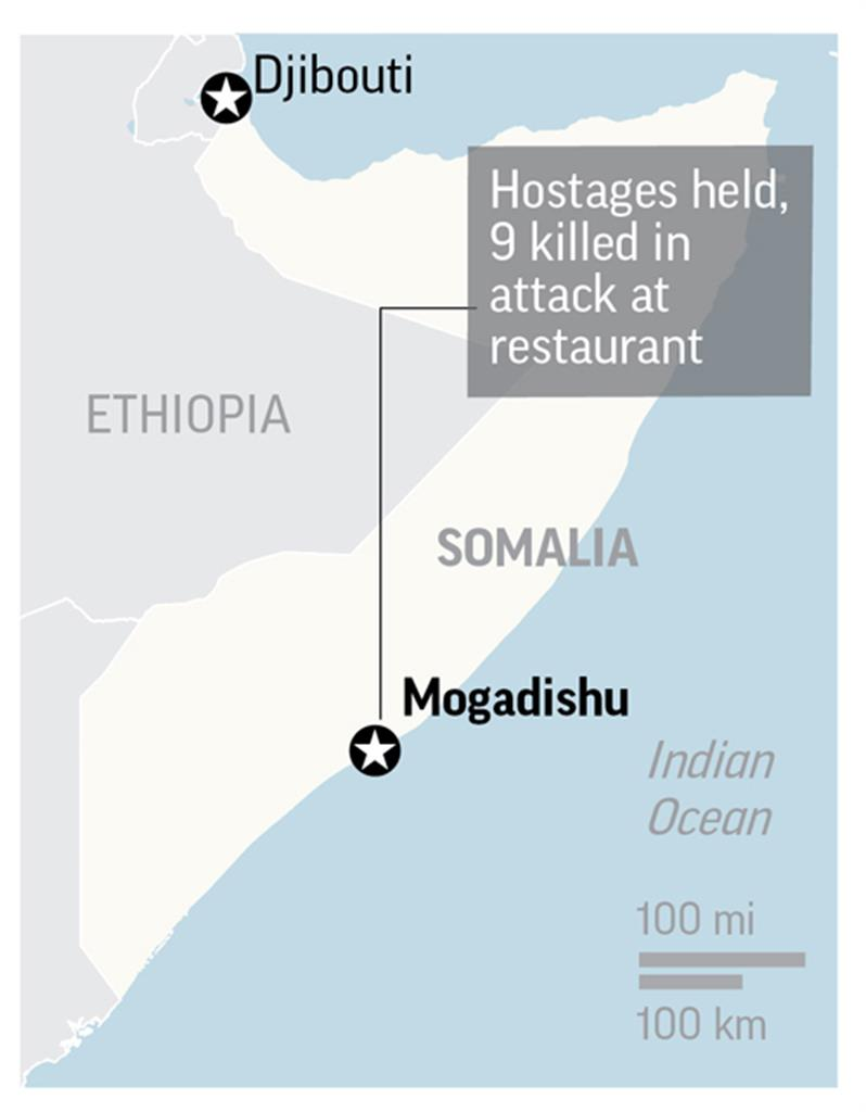 Hostages held, 17 killed in attack at Somalia restaurant