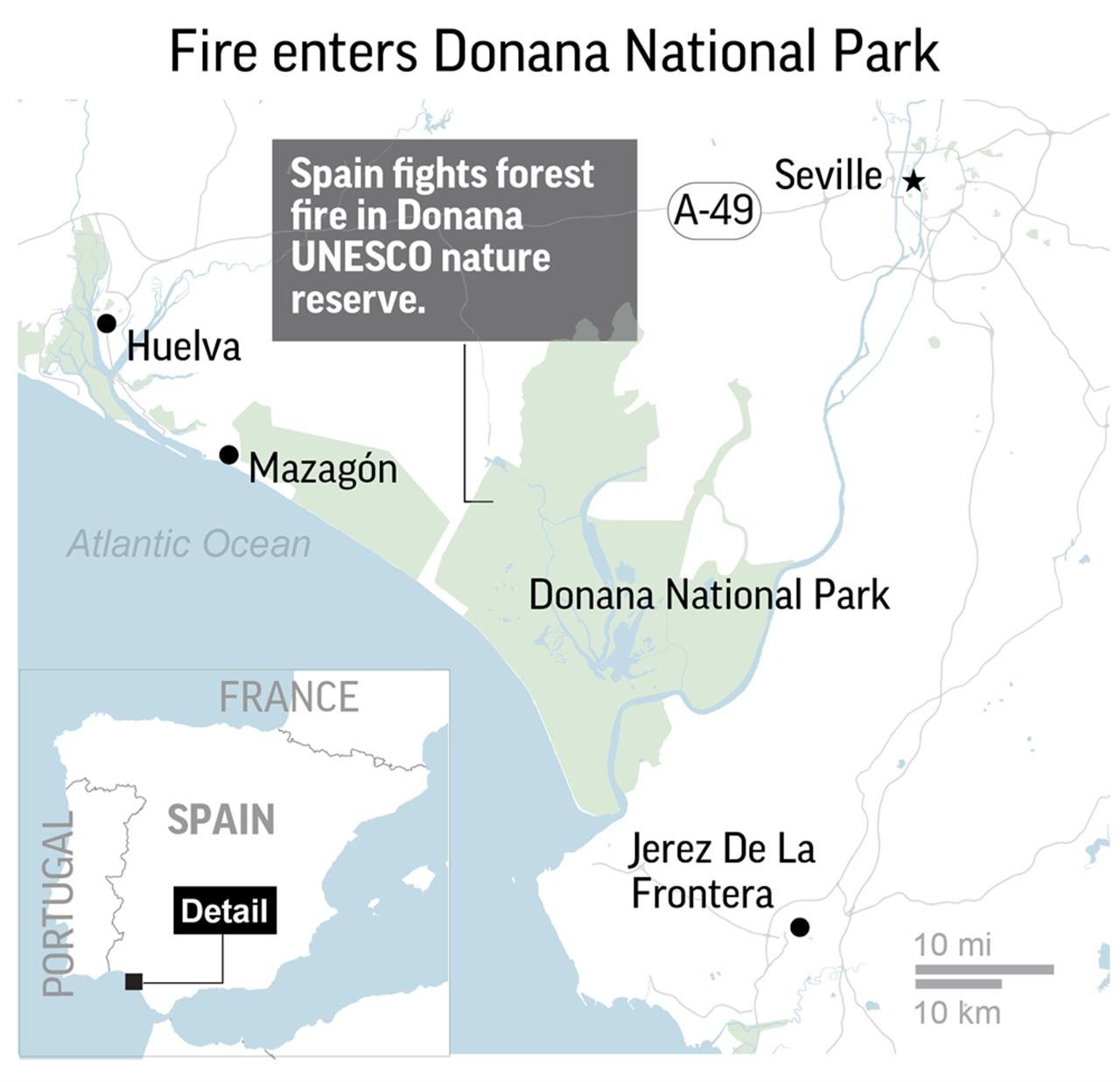 Map Of Fires In Spain 2017.Forest Fire In Spain Threatens Renowned National Park Am 920 The