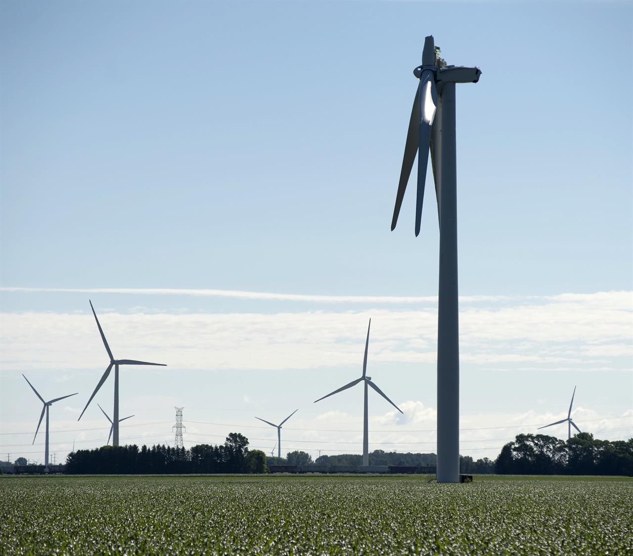 Wind turbine blade breaks in rural mid-Michigan; no injuries