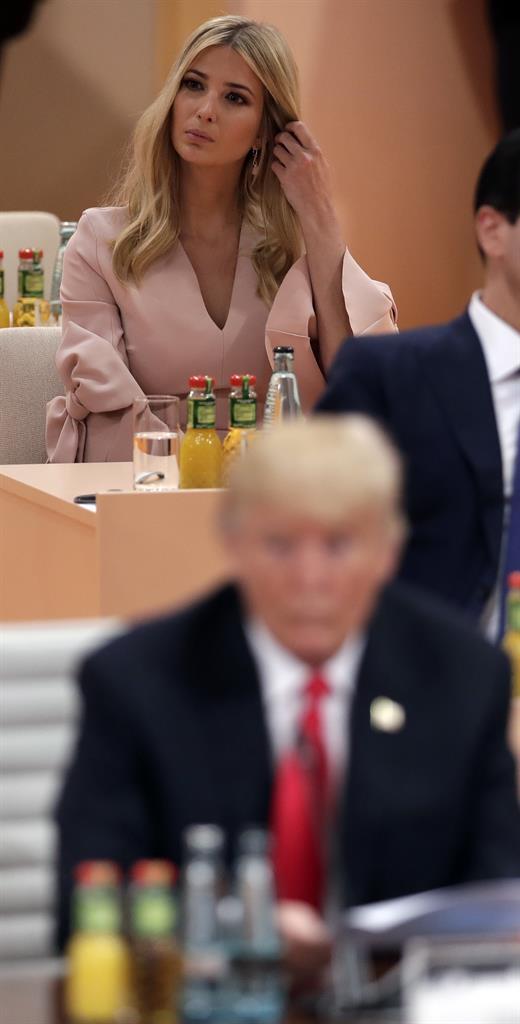 Ivanka Trump, rear, daughter of U.S. President Donald Trump, front ...