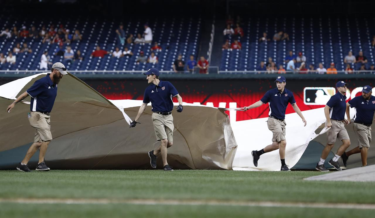Giants Nationals Game Postponed After Lengthy Rain Delay