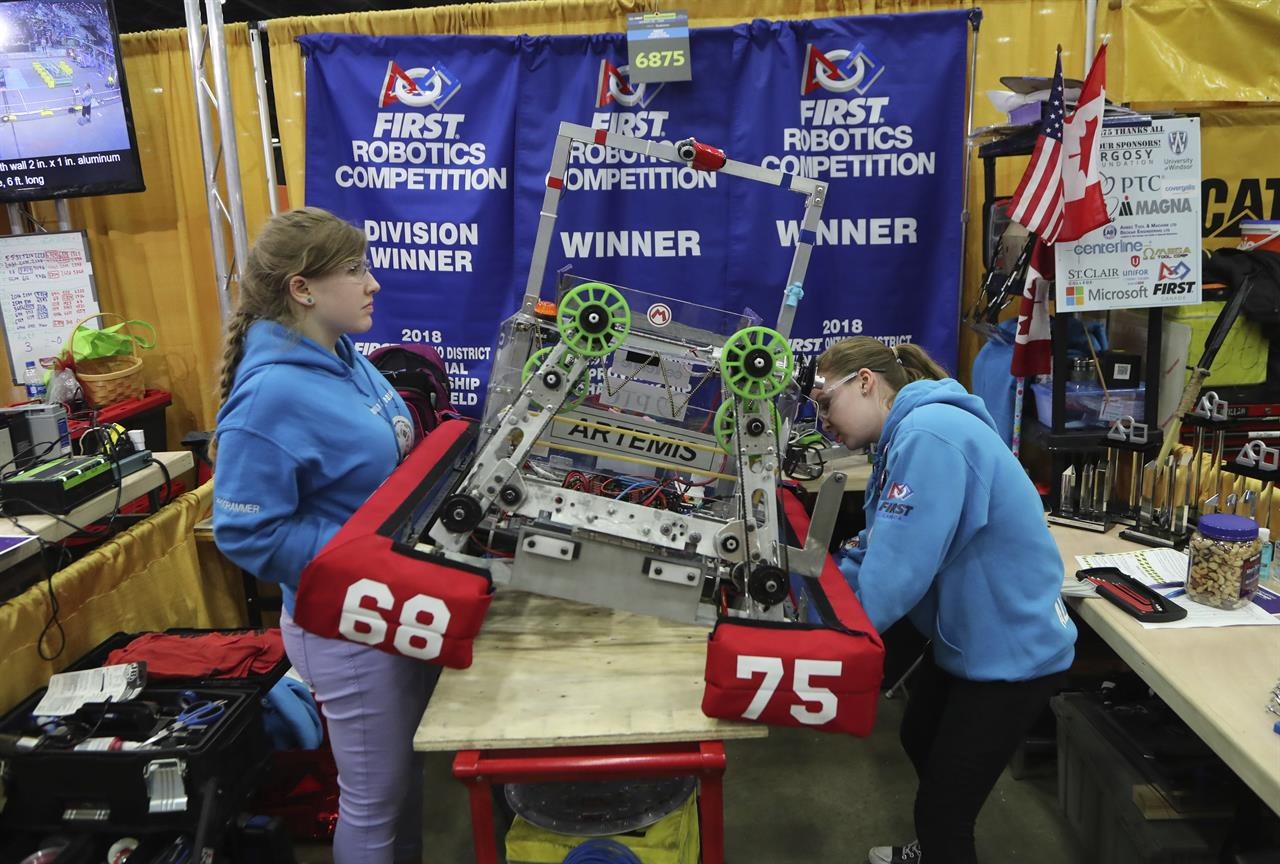 Girl power: All-female teams compete at robotics event | AM