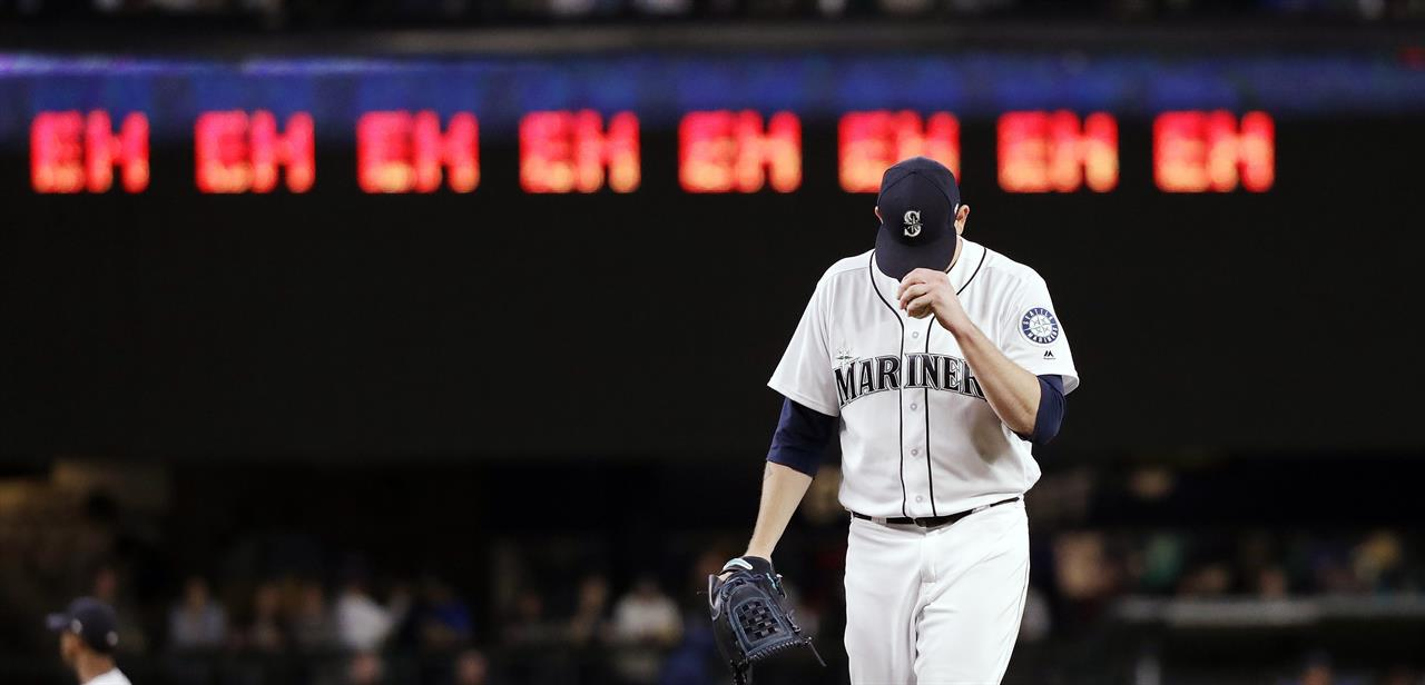 Seattle Mariners Starting Pitcher James Paxton Gets Ready For The Next Batter After Striking Out An Oakland Athletics Player As A Line Of Ehs Nod To