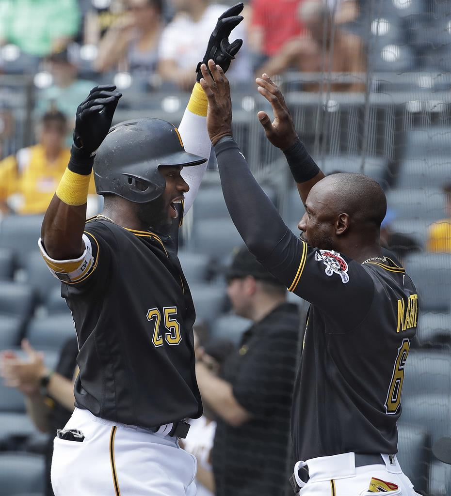 9b17658af Pittsburgh Pirates  Gregory Polanco (25) is greeted by Starling Marte as he  returns to the dugout after hitting a solo home run off Milwaukee Brewers  ...