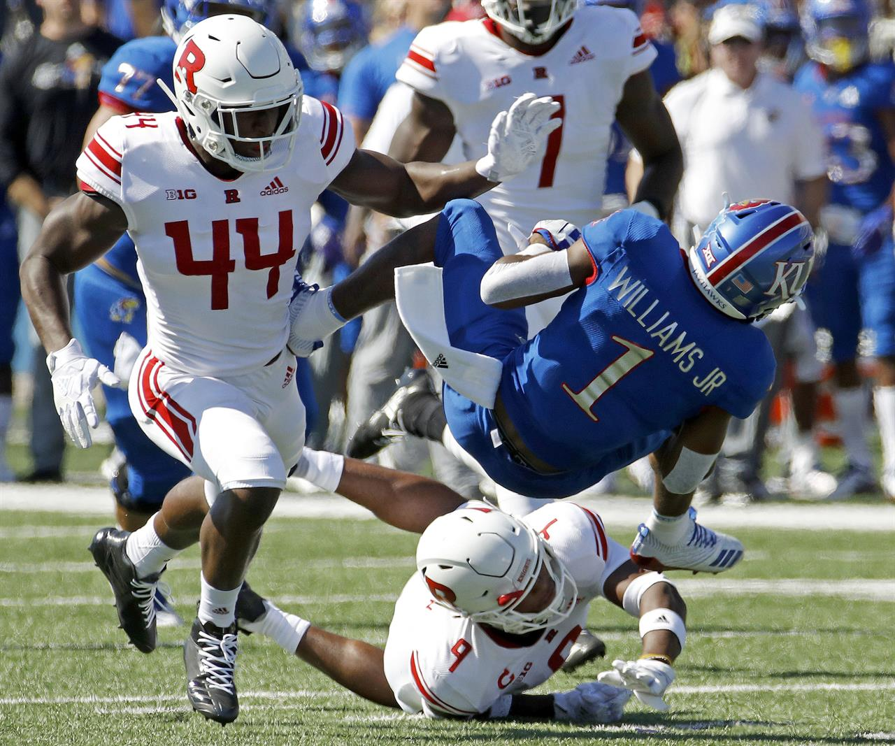 Takeaways, run game lead Kansas to 55-14 blowout of Rutgers