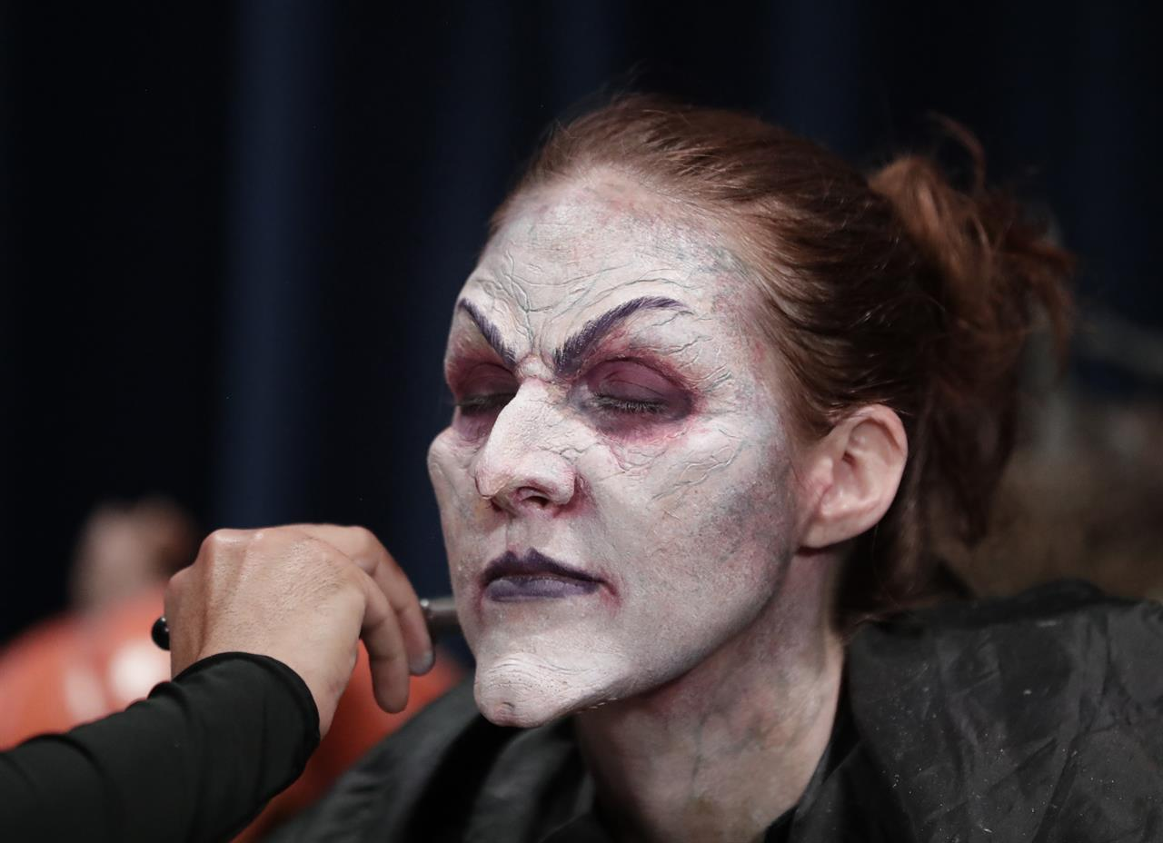 make-up, wig, cackle. actress becomes witch at universal | am 1070