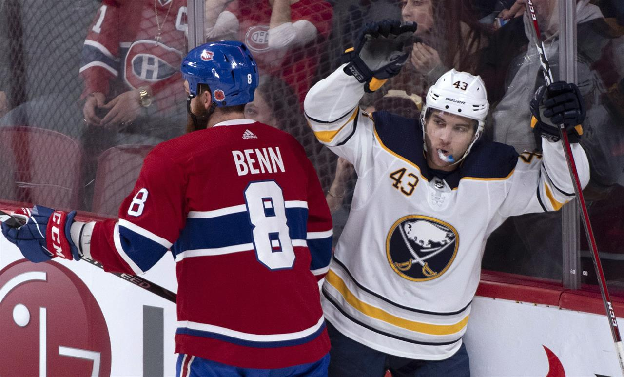 21f90cce1 Montreal Canadiens' Jordie Benn skates past Buffalo Sabres' Conor Sheary as  he celebrates his goal during the first period of an NHL hockey game  Thursday, ...