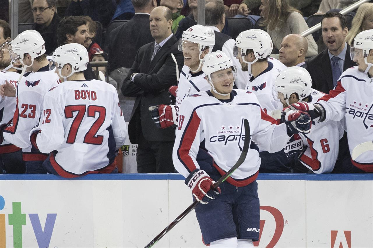 59bcccf1a90 Washington Capitals left wing Jakub Vrana (13) celebrates at the bench  after scoring a goal against the New York Rangers during the second period  of an NHL ...