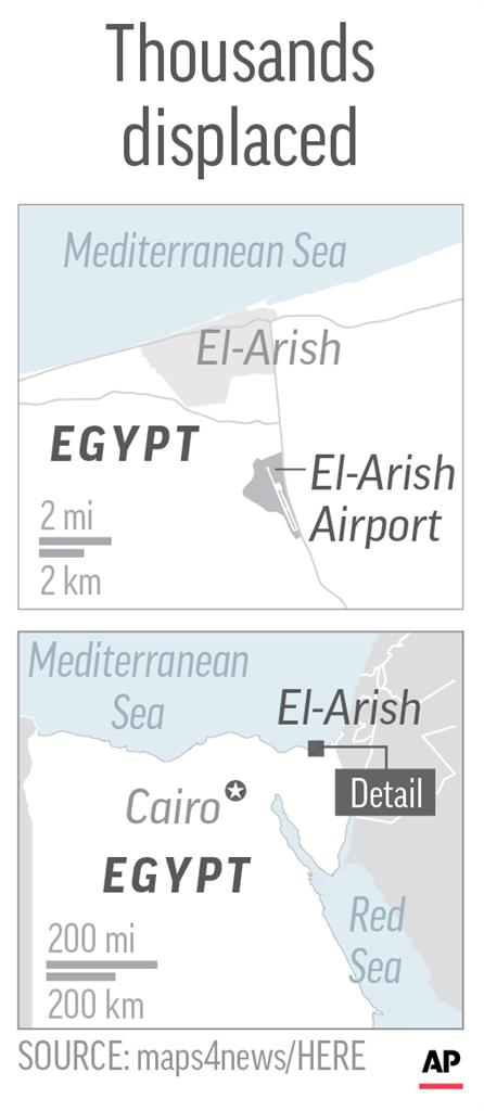 Egypt bulldozes zone by Sinai airport, displacing thousands
