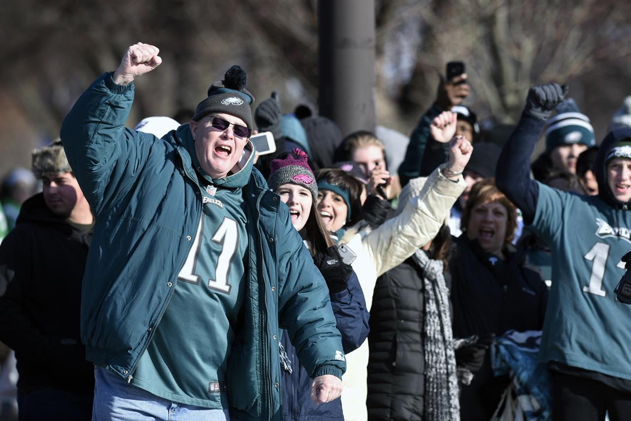 buy popular 091ea e3267 The Latest: Fans keep it mostly peaceful at Eagles parade ...