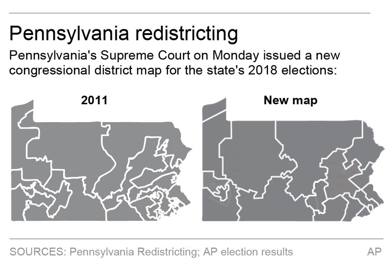 Map Of New York District Courts.Pennsylvania S New Congressional Map Could Boost Democrats Am 970
