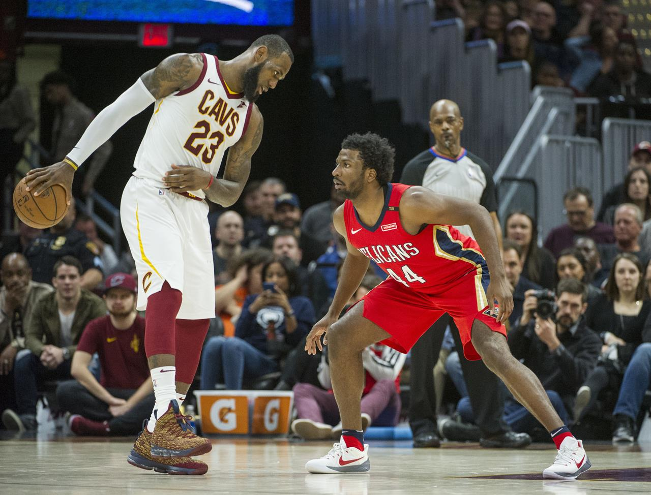 2c4c9bfe3a1 Cleveland Cavaliers  LeBron James (23) watches New Orleans Pelicans   Solomon Hill (44) during the second half of an NBA basketball game in  Cleveland