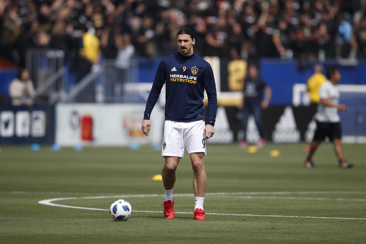 b4d2896f2 Los Angeles Galaxy's Zlatan Ibrahimovic, of Sweden, warms up before the  team's MLS soccer match against the Los Angeles FC, Saturday, March 31,  2018, ...