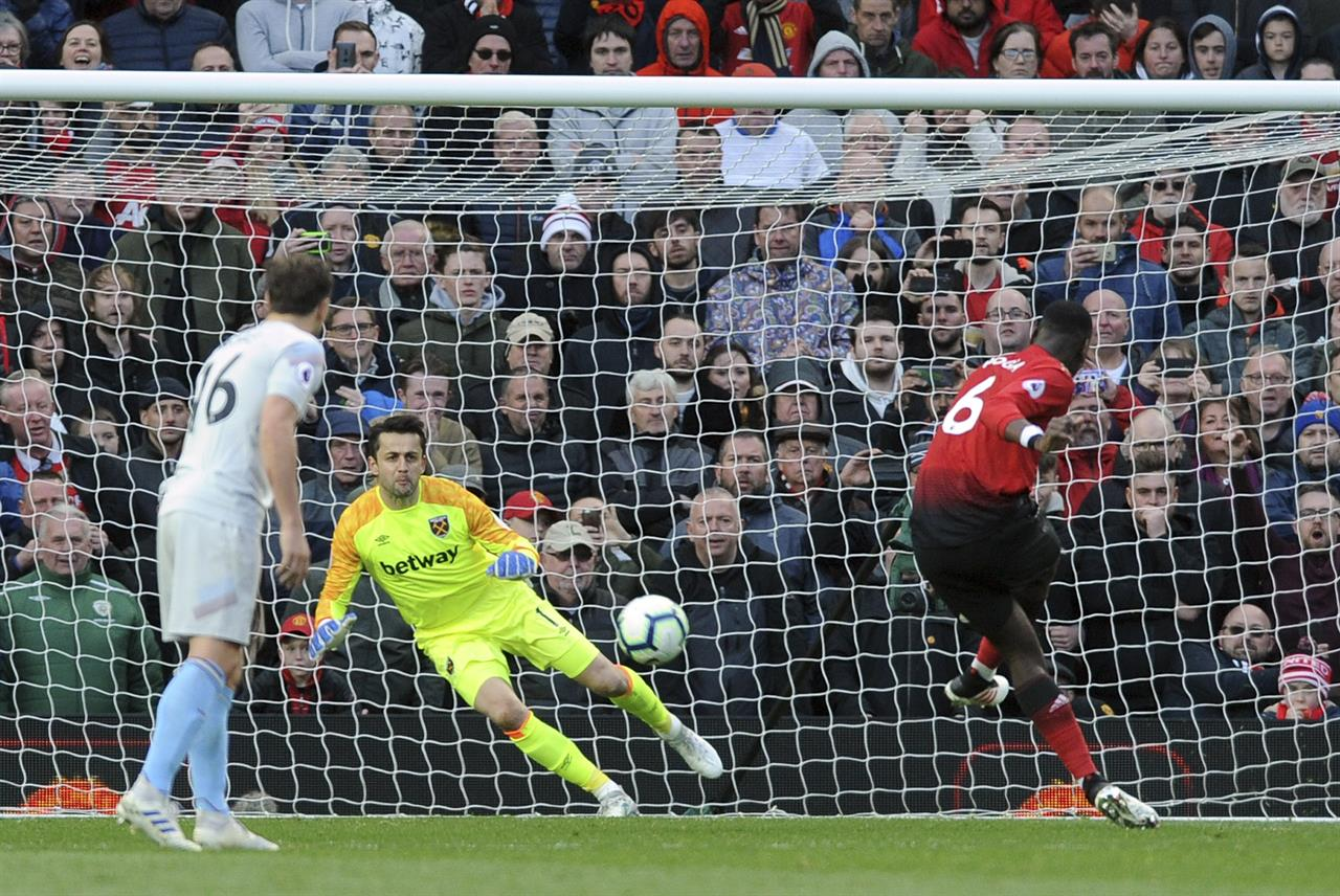 Pogba penalties give Man United 2-1 win over West Ham in EPL