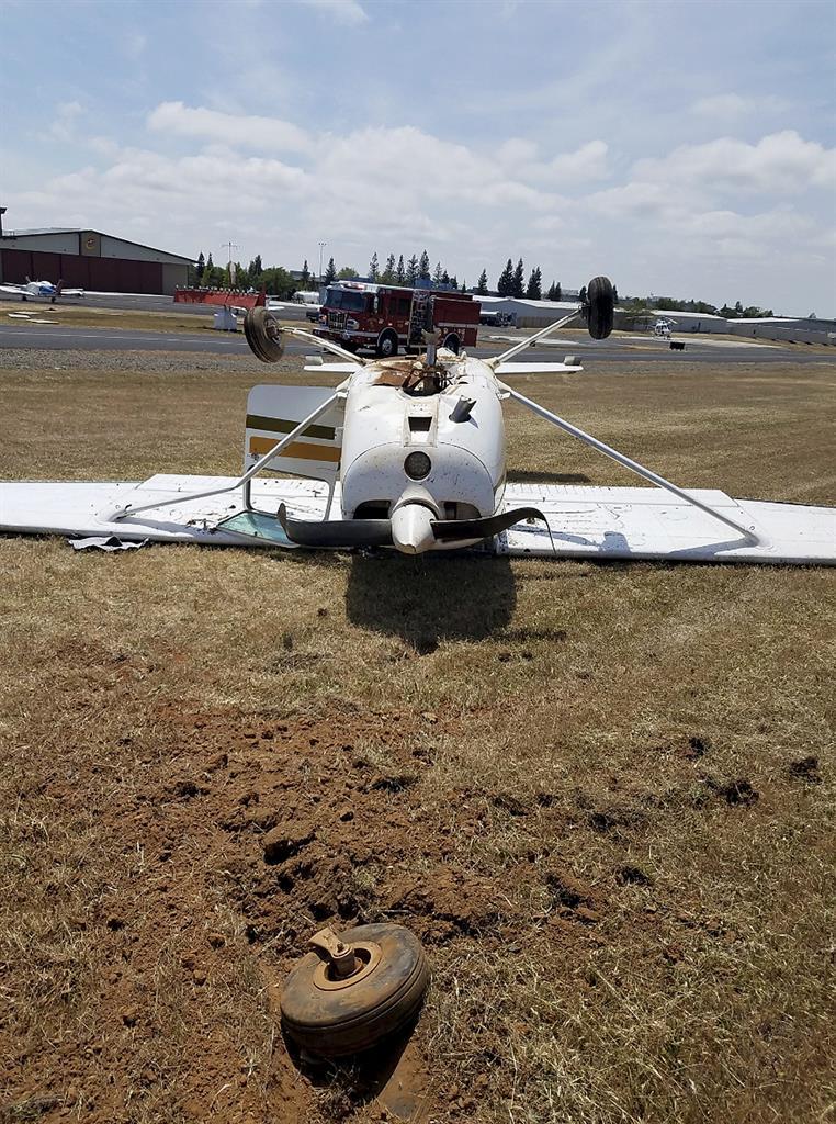 Pilot safe as plane crashes at Northern California airport