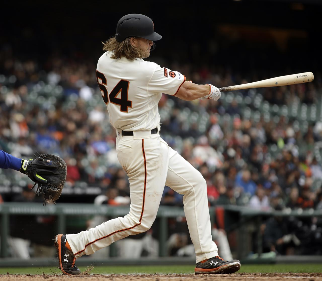 f4bee0c2 San Francisco Giants' Shaun Anderson swings for a single off Toronto Blue  Jays' Edwin Jackson in the fourth inning of a baseball game Wednesday, May  15, ...