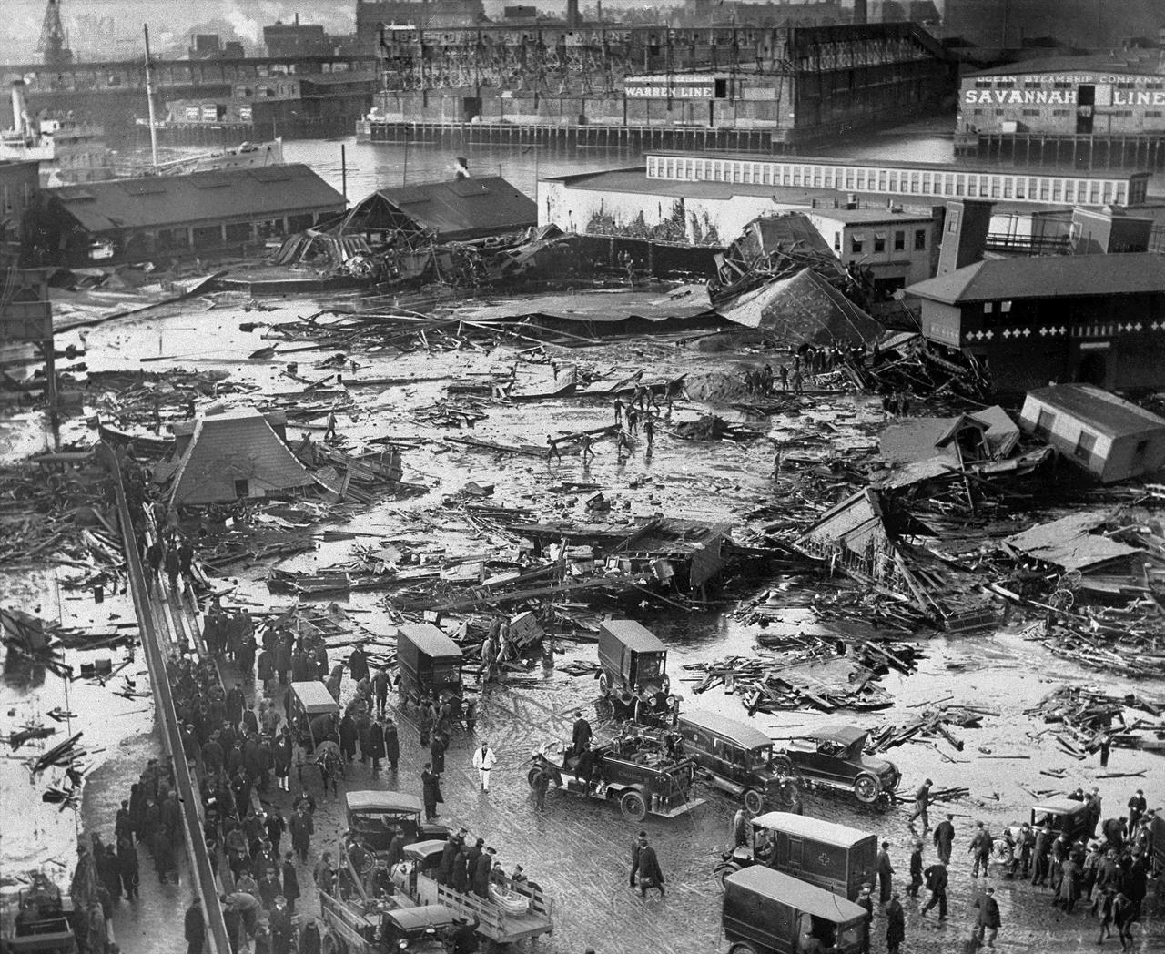 685d5a6cd 15, 1919, file photo, the ruins of tanks containing more than 2 million  gallons of molasses lie in a heap after erupting along the waterfront in  Boston's ...
