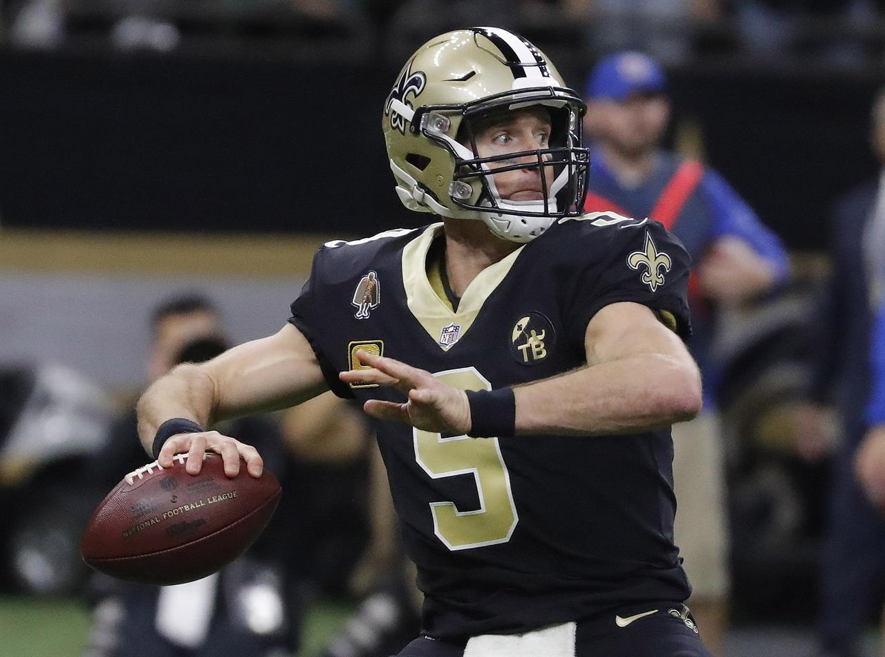 fc1aaf240 New Orleans Saints  Drew Brees throws during the first half the NFL  football NFC championship game against the Los Angeles Rams