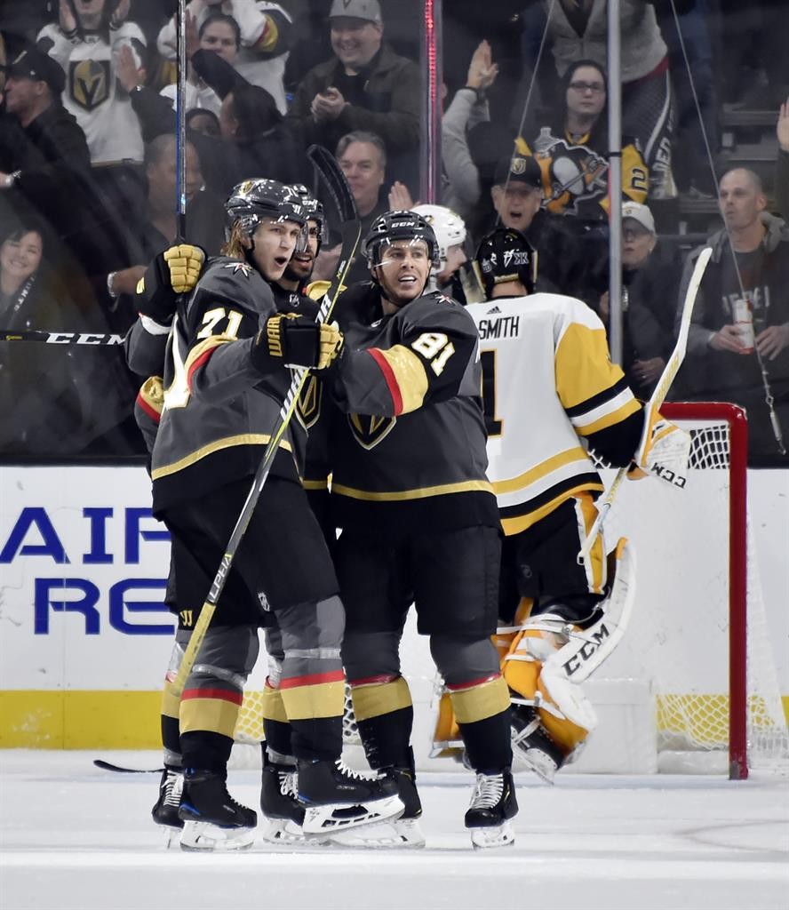 Vegas Golden Knights center William Karlsson (71) celebrates his goal  center Brandon Pirri (73) and Jonathan Marchessault during the third period  of the ... 24dd0d050