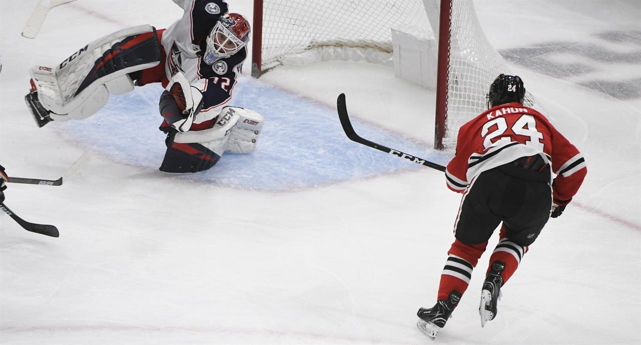 92602c196 Columbus Blue Jackets goaltender Sergei Bobrovsky (72) defends against  Chicago Blackhawks center Dominik Kahun (24) during the second period of an  NHL ...