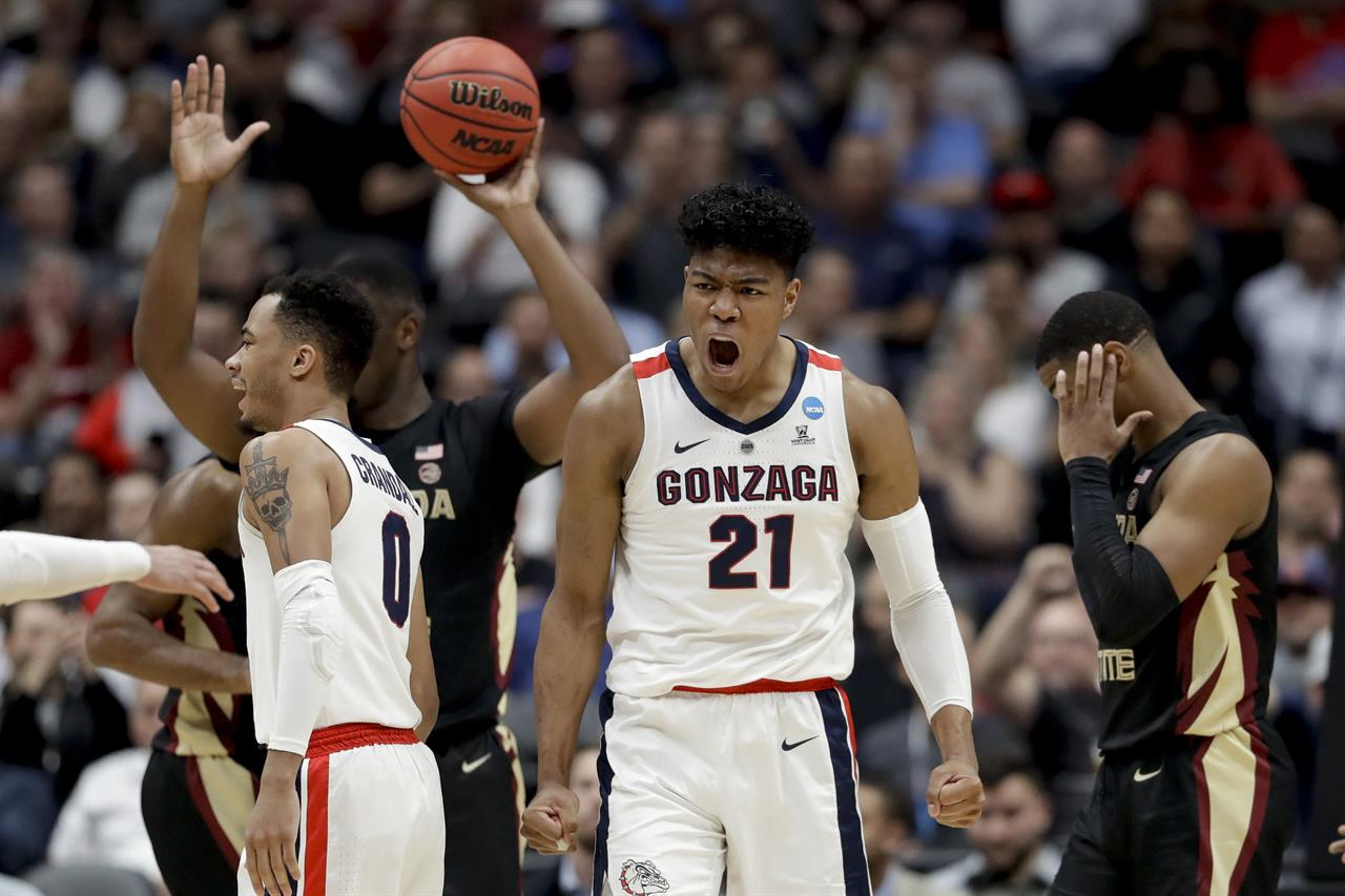 quality design 648e2 17a5e Gonzaga forward Rui Hachimura celebrates after scoring against Florida State  during the first half an NCAA men s college basketball tournament West  Region ...