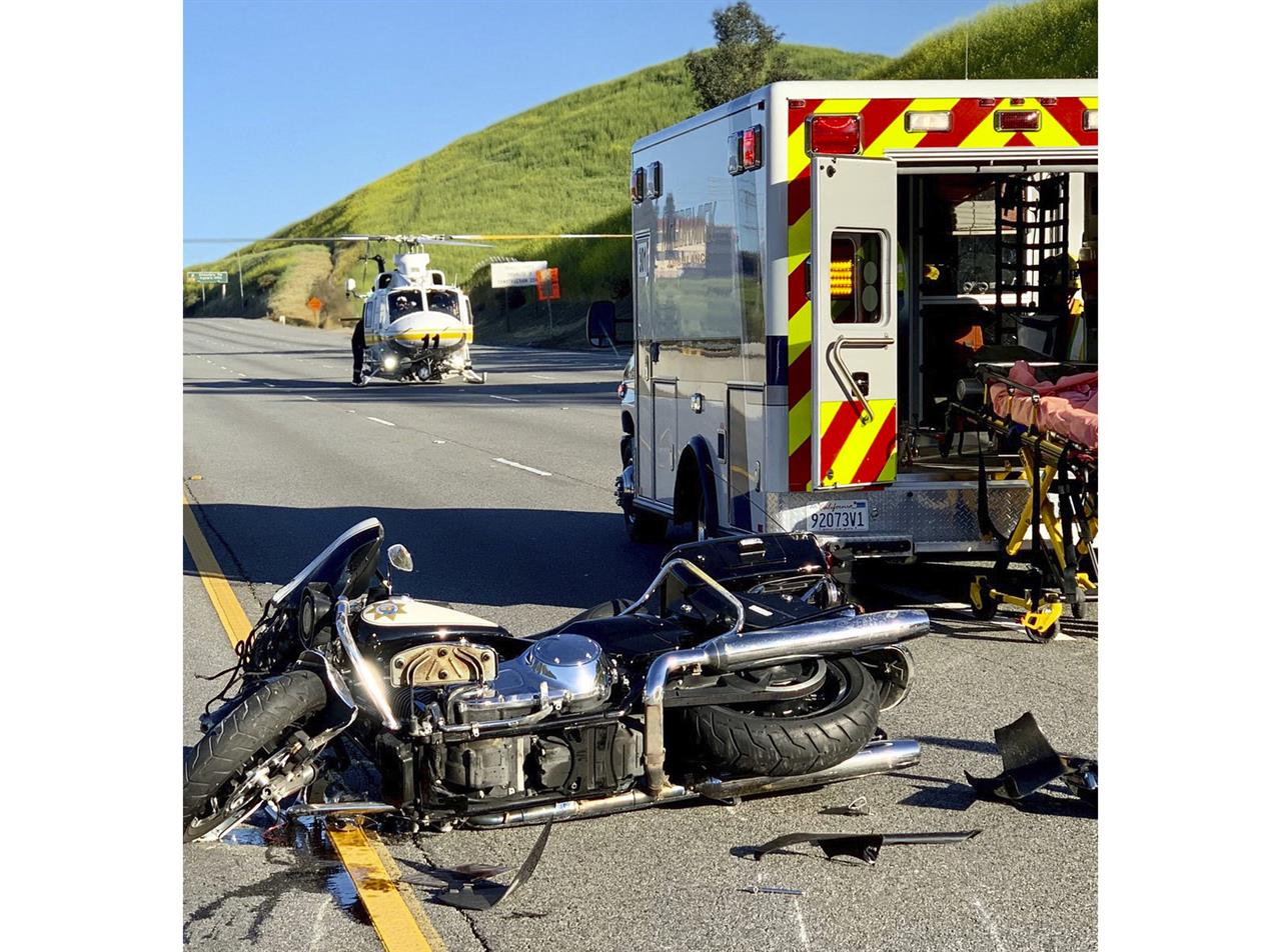 Motorcycle officer airlifted from crash on LA-area freeway | The