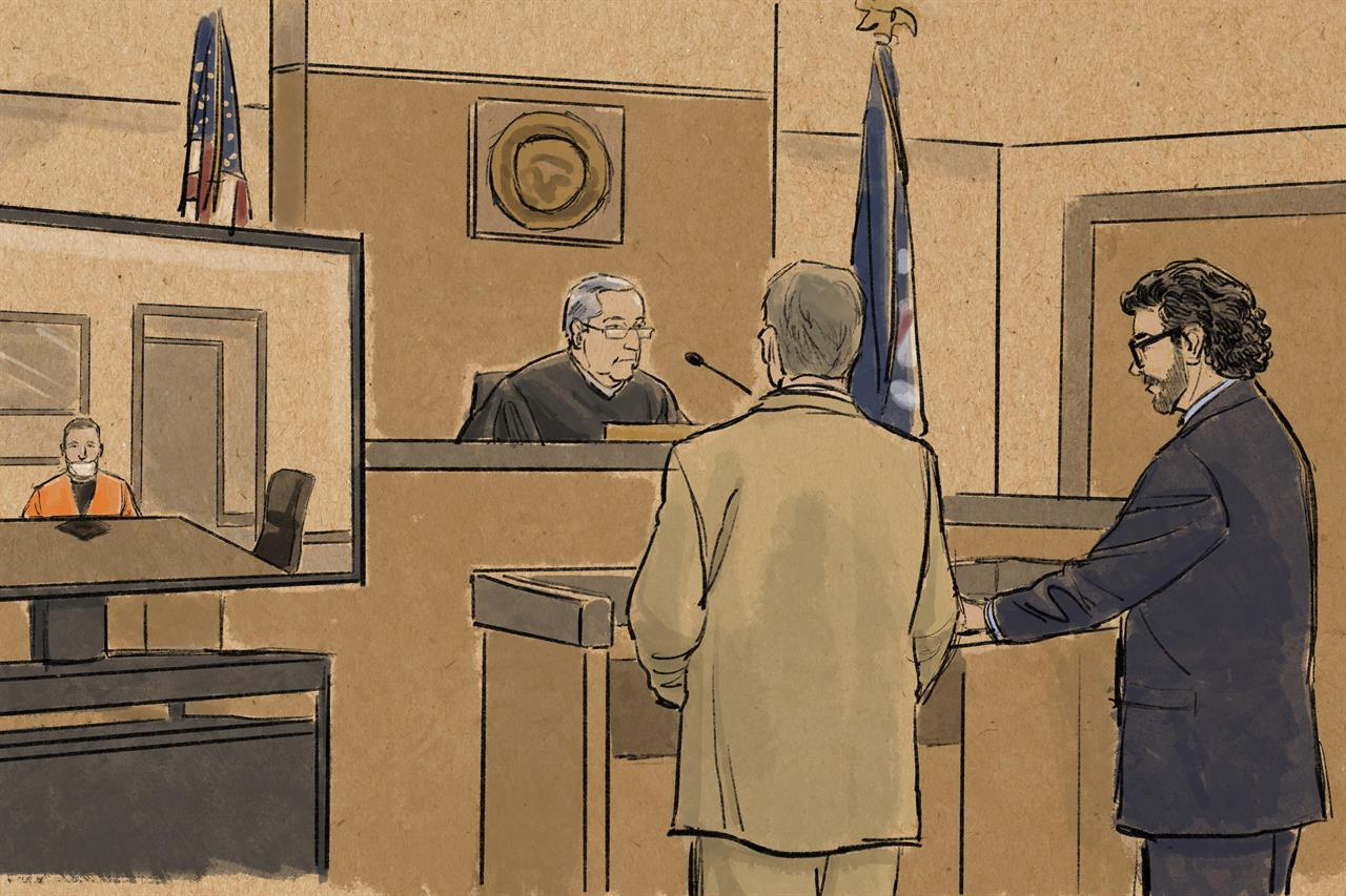 In this courtroom sketch, former Minneapolis police officer Derek Chauvin appears in on closed-circuit television from a maximum security prison in Oak Park Heights, Minn., Monday, June 29, 2020, during a hearing before Hennepin County Judge Peter Cahill in Minneapolis. Prosecutor Matthew Frank, second from right, and defense attorney Eric Nelson, right, face the judge. Chauvin is charged with second-degree murder and other counts in the death of George Floyd, while former police officers Thomas Lane, J. Kueng and Tou Thao are charged with aiding and abetting Chauvin. (Cedric Hohnstadt via AP)