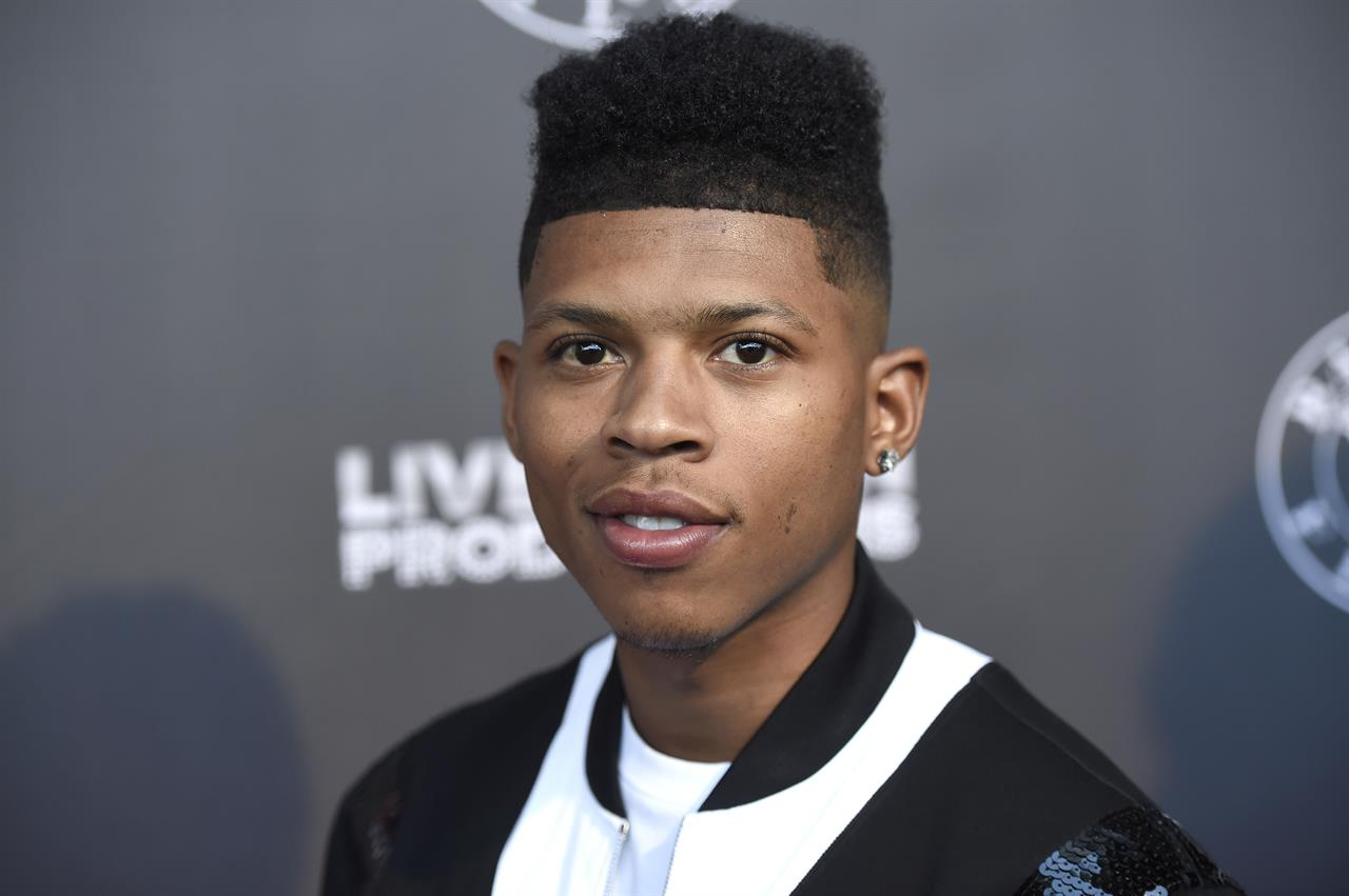 """FILE - In this June 21, 2017, file photo, Bryshere Y. Gray arrives at the Los Angeles premiere of """"Can't Stop, Won't Stop: A Bad Boy Story"""" at the Writers Guild Theater in Beverly Hills, Calif. Gray has been arrested in Arizona on accusations of abusing his wife, police said. The Goodyear Police Department said 26-year-old Gray was booked into jail Saturday, July 11, 2020, KPNX-TV reported. (Photo by Chris Pizzello/Invision/AP)"""