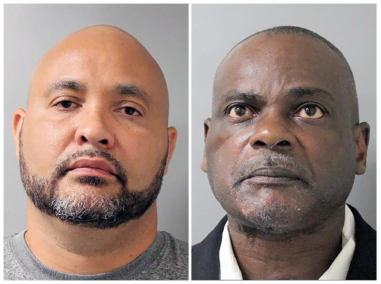 FILE - This combination of undated file photos provided by the Houston Police Department shows Steven Bryant, left, and Gerald Goines, in Houston. Prosecutors say a grand jury has indicted six former Houston police officers, including Bryant and Goines, whose work with a narcotics unit has been under scrutiny since a 2019 drug raid in which a couple was killed. (Houston Police Department via AP, File)