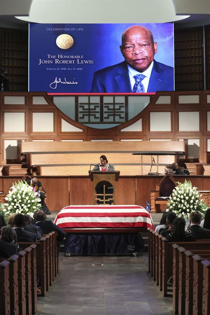 Rev. Dr. Bernice King offers a prayer at the start of the service during the funeral for the late Rep. John Lewis, D-Ga., at Ebenezer Baptist Church in Atlanta, Thursday, July 30, 2020.  (Alyssa Pointer/Atlanta Journal-Constitution via AP, Pool)