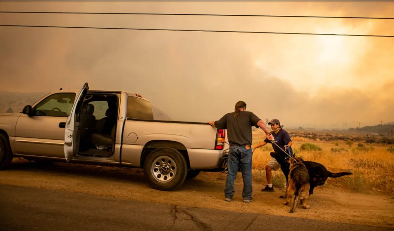 Homes burned as winds push California fire into desert floor