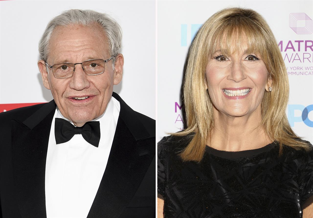 "In this combination photo, honoree Bob Woodward, left, attends the PEN America Literary Gala on May 21, 2019, in New York and Jamie Gangel attends the New York Women in Communications Matrix Awards on April 25, 2016, in New York. Woodward, the author of ""Rage,"" said CNN reporter Jamie Gangel helped convince him to release audio tapes of his interviews with President Donald Trump, with Trump telling him that he played down dangers of the coronavirus epidemic in order not to create a panic, giving the book a bigger initial impact than words on a page would have alone. (AP Photo)"