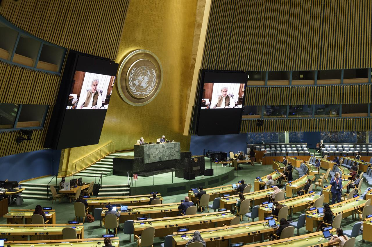 In this photo provided by the United Nations, Pakistan's Foreign Minister, Shah Mahmood Qureshi, speaks in the U.N. General Assembly Thursday, Oct. 1, 2020, in New York. (Loey Felipe/UN Photo via AP)
