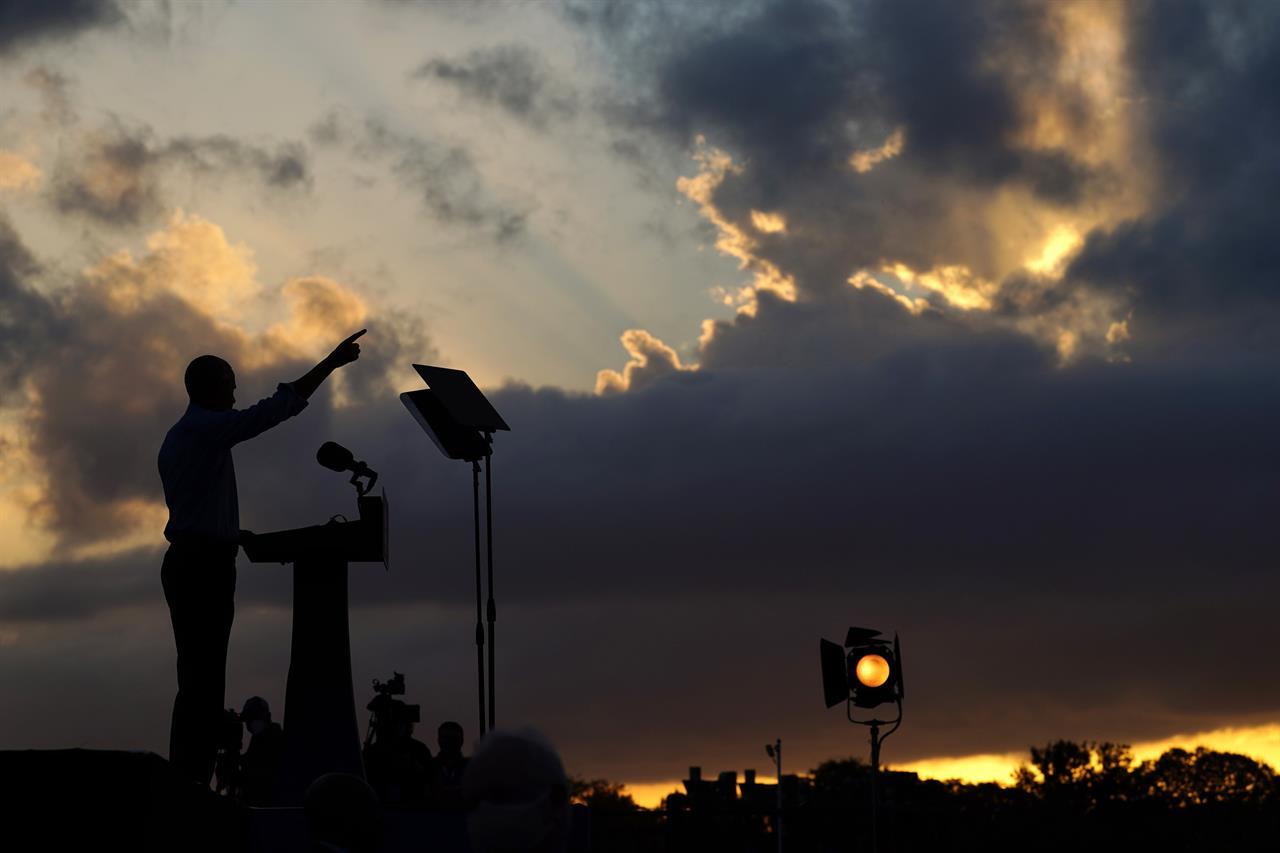 Former President Barack Obama speaks at Citizens Bank Park as he campaigns for Democratic presidential candidate former Vice President Joe Biden, Wednesday, Oct. 21, 2020, in Philadelphia. (AP Photo/ Matt Slocum)