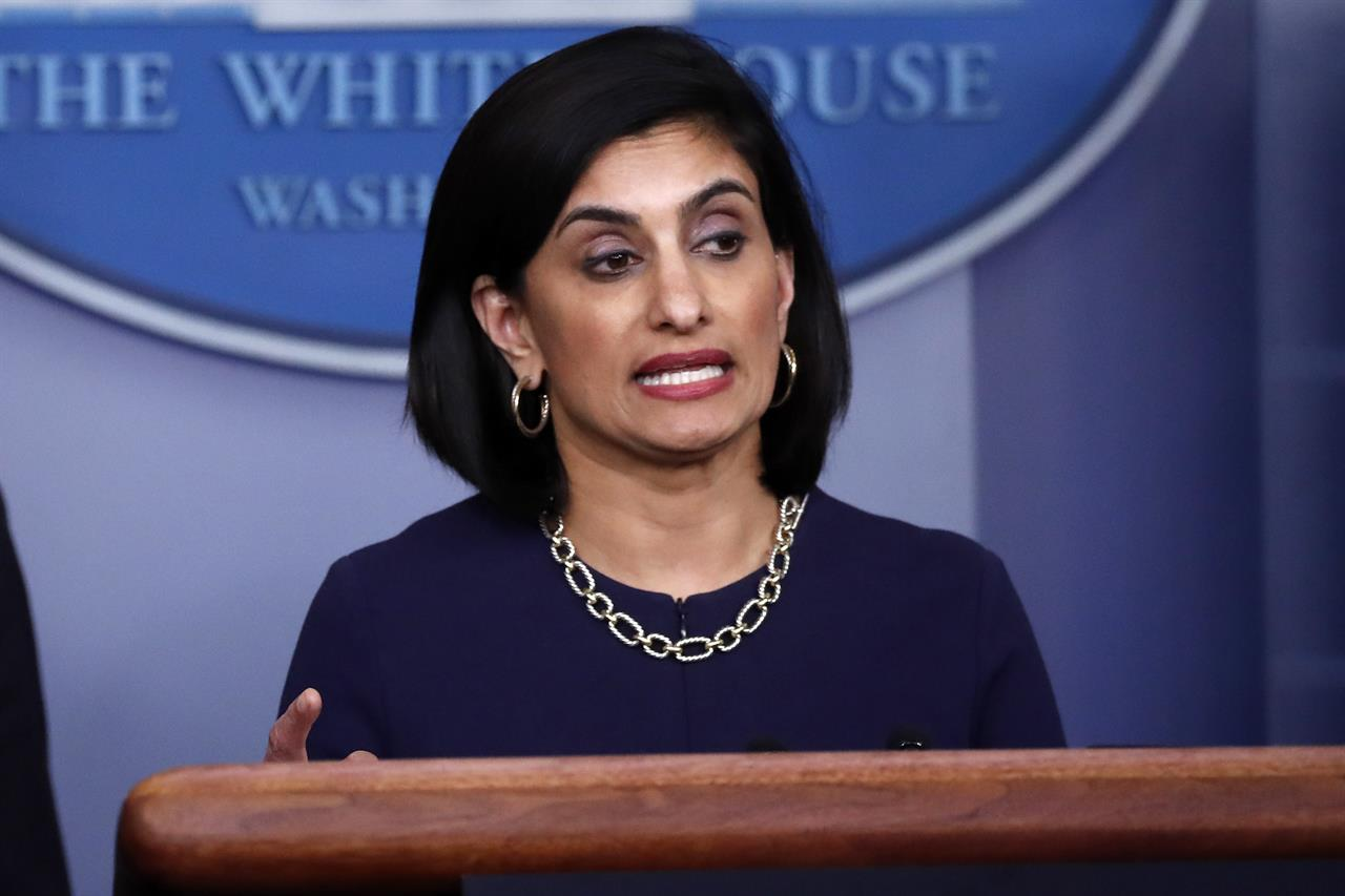 FILE - In this April 7, 2020, file photo, Seema Verma, administrator of the Centers for Medicare and Medicaid Services, speaks about the coronavirus, in the James Brady Press Briefing Room of the White House in Washington.  Medicare will cover the yet-to-be approved coronavirus vaccine free for older people under a policy change expected to be announced shortly, a senior administration official said Tuesday.  (AP Photo/Alex Brandon, File)