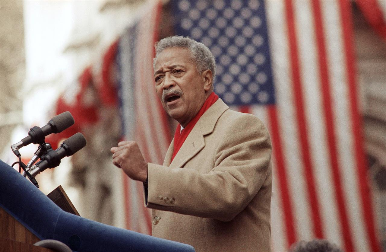FILE - In this Monday, Jan. 2, 1990, file photo, David Dinkins delivers his first speech as mayor of New York, in New York. Dinkins, New York City's first African-American mayor, died Monday, Nov. 23, 2020. He was 93. (AP Photo/Frankie Ziths, File)