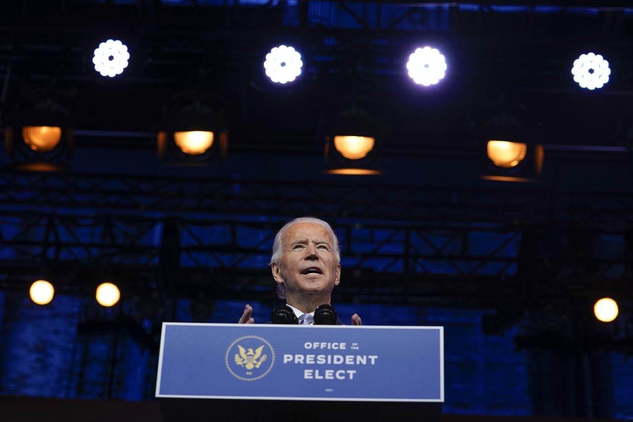 President-elect Joe Biden introduces his nominees and appointees to key national security and foreign policy posts at The Queen theater, Tuesday, Nov. 24, 2020, in Wilmington, Del. (AP Photo/Carolyn Kaster)