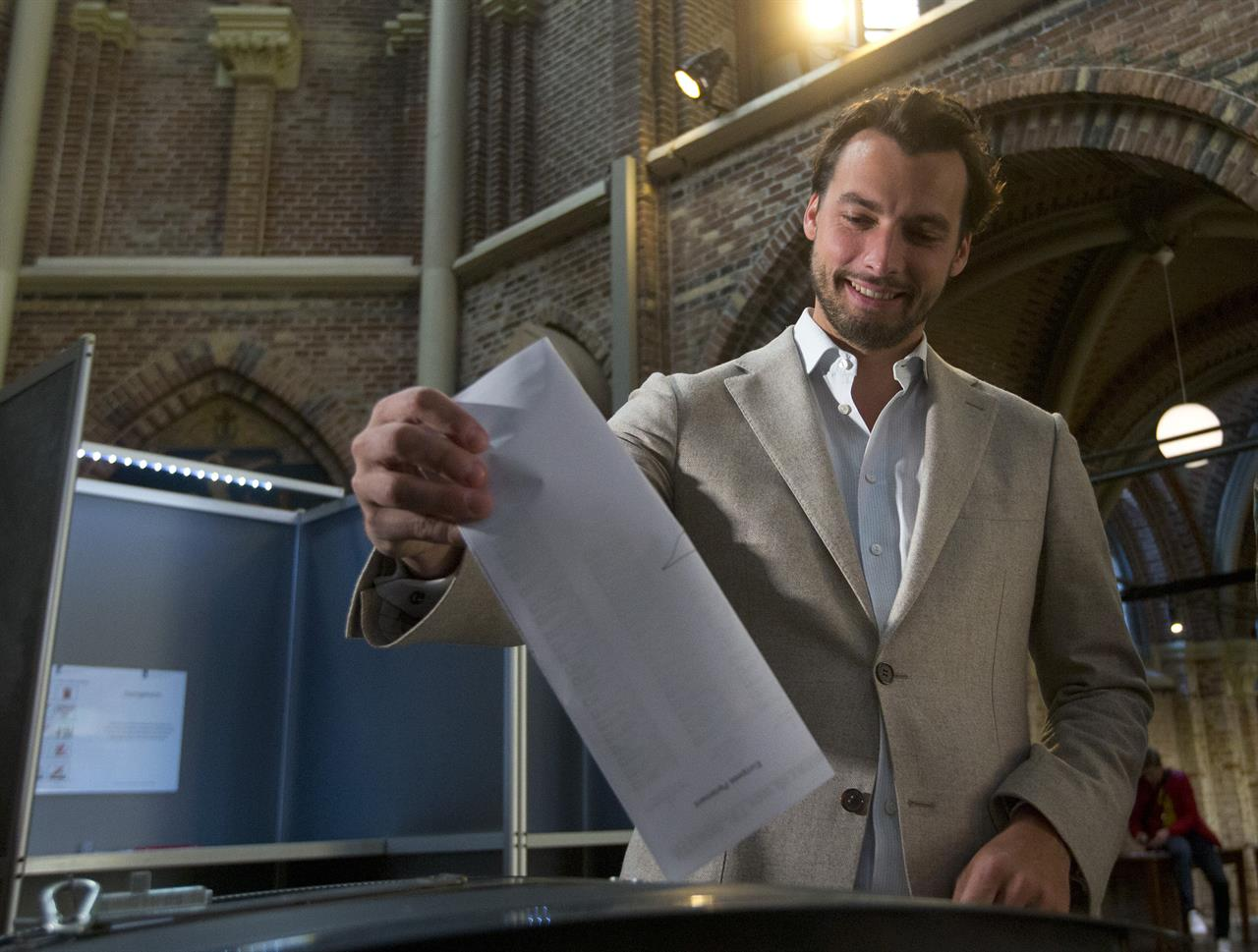FILE - In this file photo dated  Thursday, May 23, 2019, Thierry Baudet, leader of the populist party Forum for Democracy, casts his ballot for the European elections in Amsterdam, Netherlands,.   The leader of a Dutch right-wing populist party, Thierry Baudet said Monday Nov. 23, 2020, he would not lead it into parliamentary elections in March 2021 amid unrest caused by a report of far-right messages being exchanged by members of the party's youth wing. (AP Photo/Peter Dejong, FILE)