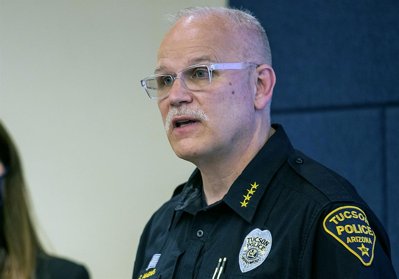 FILE - In this June 24, 2020 file photo, Tucson Police Chief Chris Magnus speaks during a press conference in Tucson, Ariz. President Joe Biden is nominating Magnus to be commissioner of Customs and Border Protection.  (Josh Galemore/Arizona Daily Star via AP)