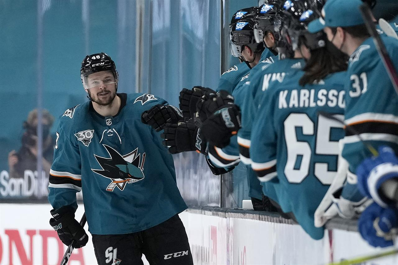 San Jose Sharks center Tomas Hertl (48) is congratulated by teammates on the bench after scoring a goal against the Colorado Avalanche during the second period of an NHL hockey game in San Jose, Calif., on Wednesday, May 5, 2021. (AP Photo/Tony Avelar)