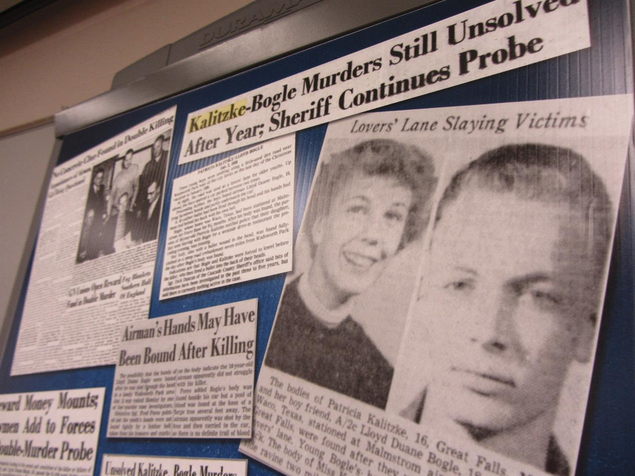 Clippings from the Great Falls Tribune that are displayed on Tuesday, June 8, 2021, in Great Falls, Mont., were part of the Cascade County Sheriff's Office investigative file into the 1956 murders of Patricia Kalitzke, 16, and Duane Bogle, 18, northwest of Great Falls. Investigators have closed the case after using forensic genealogy to identify Kenneth Gould, who is now deceased, as having likely committed the murders. (Traci Rosenbaum/The Great Falls Tribune via AP)