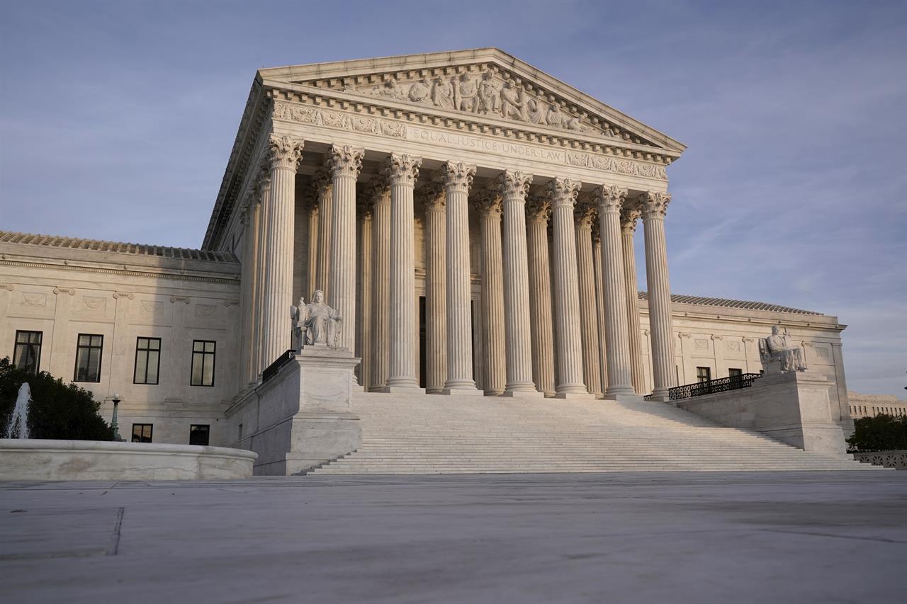In this Nov. 5, 2020 file photo, The Supreme Court is seen in Washington. (AP Photo/J. Scott Applewhite)