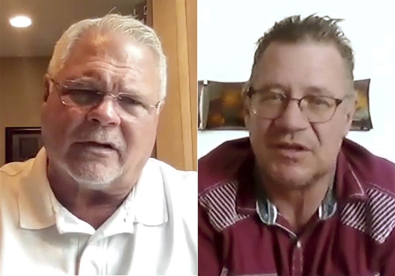 """This combination of photos taken from a video conference meeting shows county sheriff Brian Roy of Benton, of Kentucky, left, and Brian Webb, of Sheridan, Wyo. as they discuss various political views. They were participants in an effort backed by the media company Gannett to get people with opposing political views to talk with each other, part of a """"National Week of Conversation"""" sponsored by democracy-oriented groups that is ending this weekend. (Gannett via AP)"""